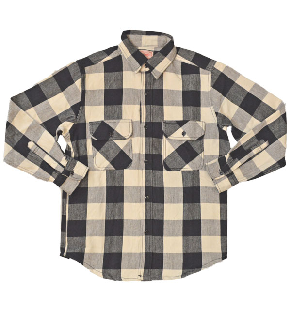ビッグマイク BIG MIKE ヘビーフランネルシャツ HEAVY FLANNEL SHIRT ブロックチェック WHITE/BLACK
