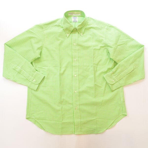 ブルーウォーター BLUE WATER ボタンダウン ギンガムチェックシャツ オウンメイク GREEN
