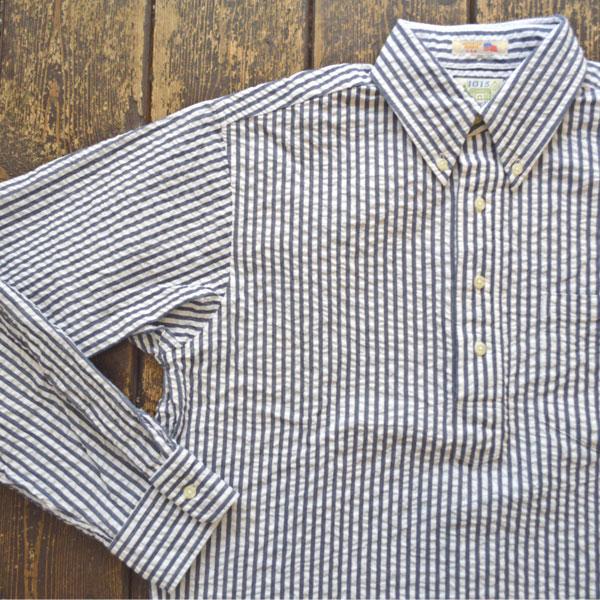 ブルーウォーター BLUE WATER シアサッカー ストライププルオーバーボタンダウンシャツ STRIPE