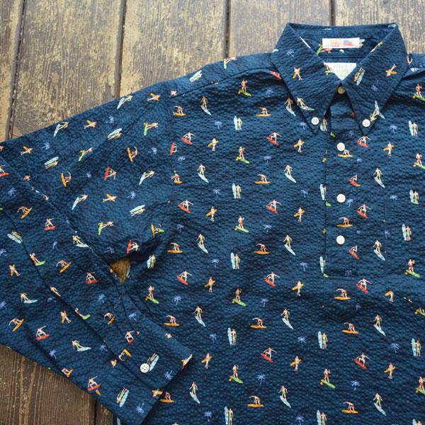 ブルーウォーター BLUE WATER シアサッカー プリントプルオーバーボタンダウンシャツ SURF