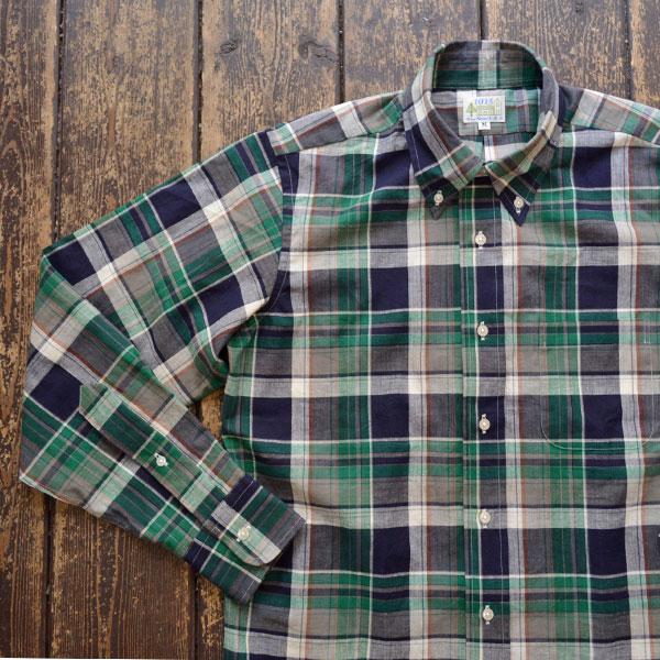 ブルーウォーター BLUE WATER マドラスチェック ボタンダウンシャツ GREEN