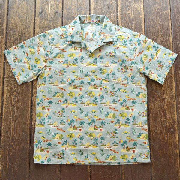 ブルーウォーター BLUE WATER コットンアロハ オープンシャツ USA生地 ALOHA BLUE/YELLOW