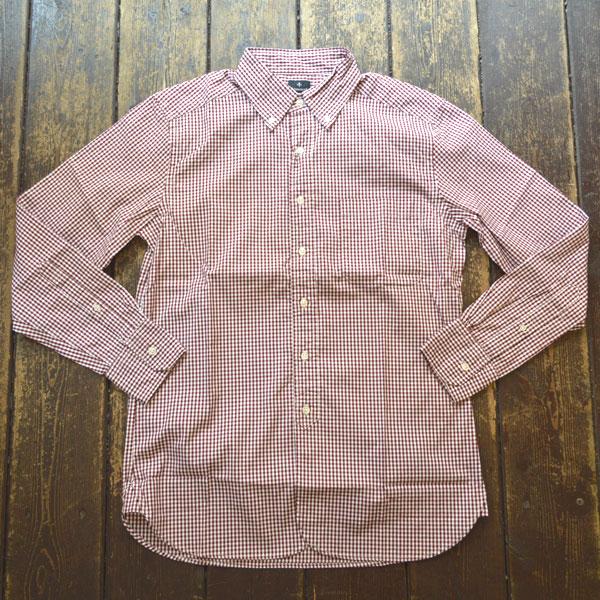 カンディデュム CANDIDUM オックスフォード  ギンガムチェック ボタンダウンシャツ RED