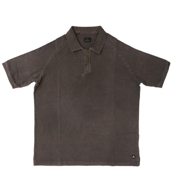 キャンディダム (arbre) 【Candidum】 後染めコットン半袖ポロシャツ BLACK