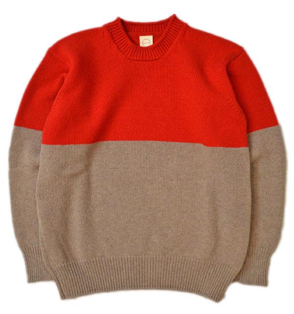 カントリー オブ オリジン 【COUNTRY OF ORIGIN】 バイカラークルーネックセーター DOUBLE BLOCK SWEATER RED/MUSHROOM