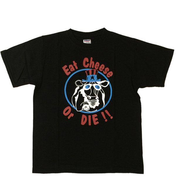 ダブルワークス 【DUBBLE WORKS】  ラフィ天竺Tシャツ EAT CHEESE BLACK