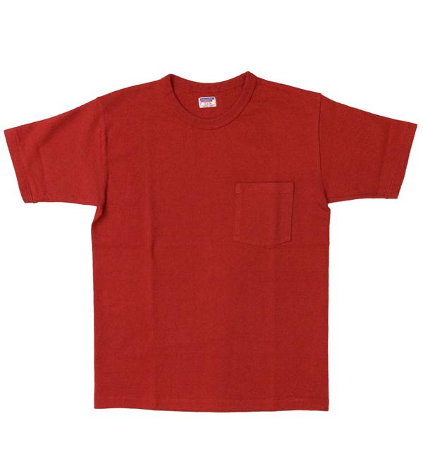 ダブルワークス 【DUBBLE WORKS】 8番手 度詰め丸胴天竺 ポケットTシャツ HEAVY WEIGHT POCKET TEE Lot.37002 RED