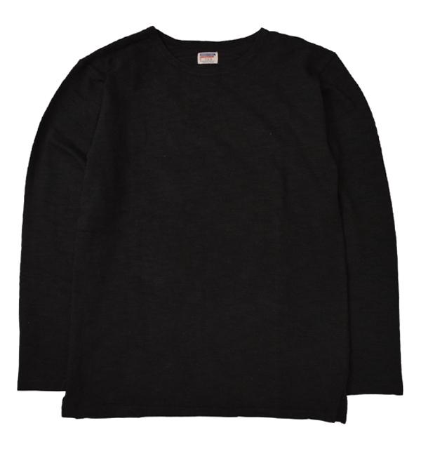 ダブルワークス 【DUBBLE WORKS】 Lot.56001 BOAT NECK L/S T-SHIRTS スラブボートネックTシャツ BLACK