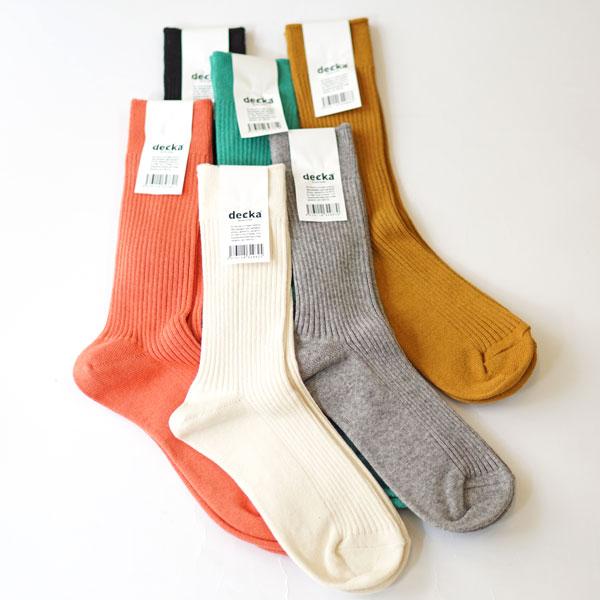 デカ decka カシミアコットン リブソックス Superior Rib Socks / Cashmere Cotton de-30