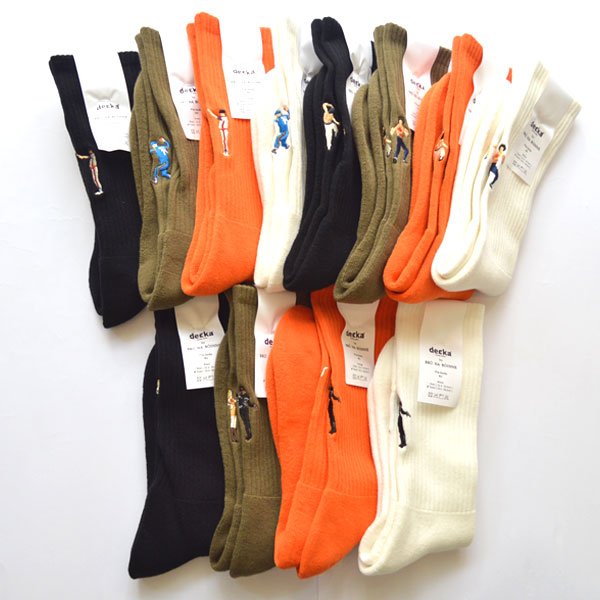 ブルーナボイン×デカ BRUNA BOINNE × decka quality socks パイルソックス 刺繍 Pile Socks / Embroidery BNB × de-25 DECO370 2足までメール便対応可能