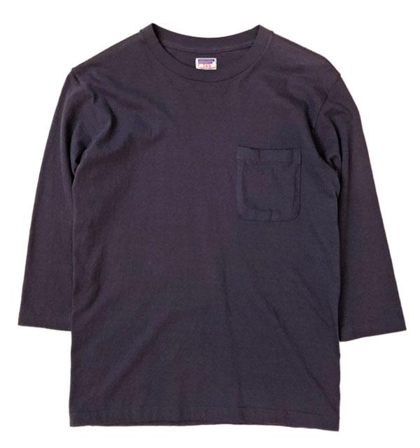 ダブルワークス 【DUBBLE WORKS】 ラフィ天竺ポケット7分袖Tシャツ NAVY