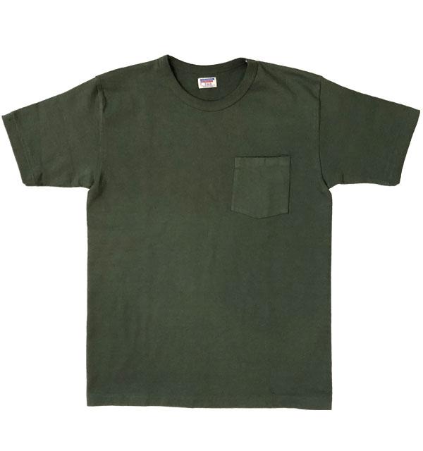 ダブルワークス DUBBLE WORKS 8番手 度詰め丸胴天竺 ポケットTシャツ HEAVY WEIGHT POCKET TEE Lot.37002 GREEN