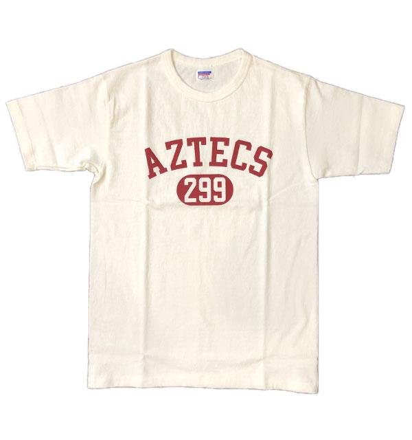ダブルワークス DUBBLE WORKS 8番手 度詰め丸胴天竺 プリントTシャツ HEAVY WEIGHT PRINT TEE Lot.37001 AZTECS WHITE