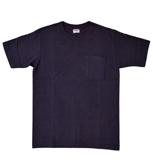 ダブルワークス DUBBLE WORKS 8番手 度詰め丸胴天竺 ポケットTシャツ HEAVY WEIGHT POCKET TEE Lot.37002 NAVY