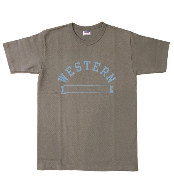 ダブルワークス DUBBLE WORKS 8番手 度詰め丸胴天竺 プリントTシャツ HEAVY WEIGHT PRINT TEE Lot.37001 WESTERN GRAY