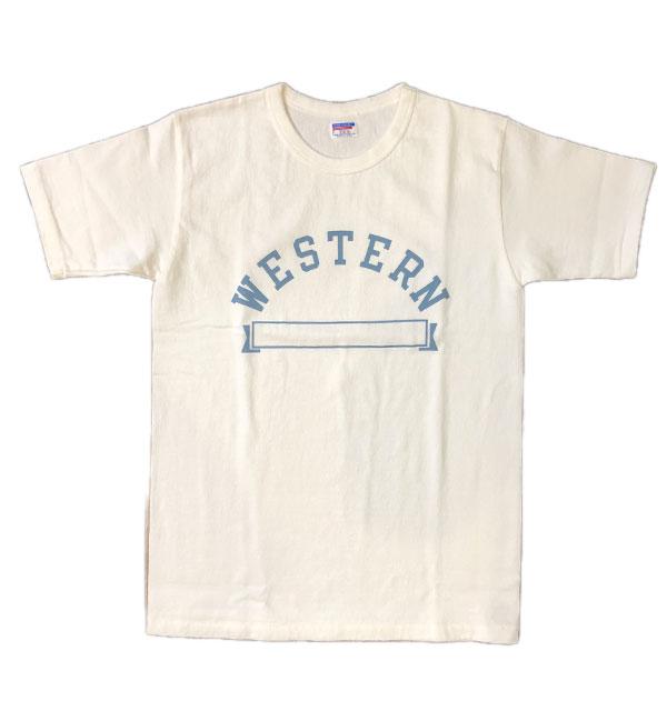 ダブルワークス DUBBLE WORKS 8番手 度詰め丸胴天竺 プリントTシャツ HEAVY WEIGHT PRINT TEE Lot.37001 WESTERN WHITE