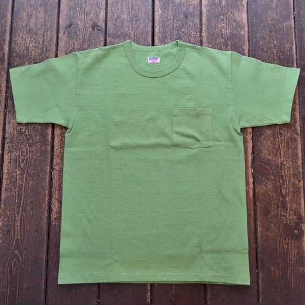 ダブルワークス DUBBLE WORKS 8番手 度詰め丸胴天竺 ポケットTシャツ HEAVY WEIGHT POCKET TEE Lot.37002 LT.GREEN