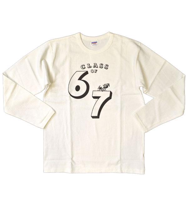 ダブルワークス DUBBLE WORKS 8番手 度詰め丸胴天竺 プリントL/STシャツ HEAVY WEIGHT PRINT L/S TEE Lot.58001 67 WHITE