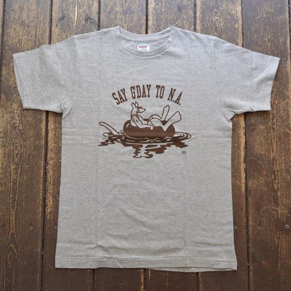ダブルワークス DUBBLE WORKS ラフィ天竺 プリントTシャツ PRINT T-SHIRT SAY G' DAY 33005 GRAY