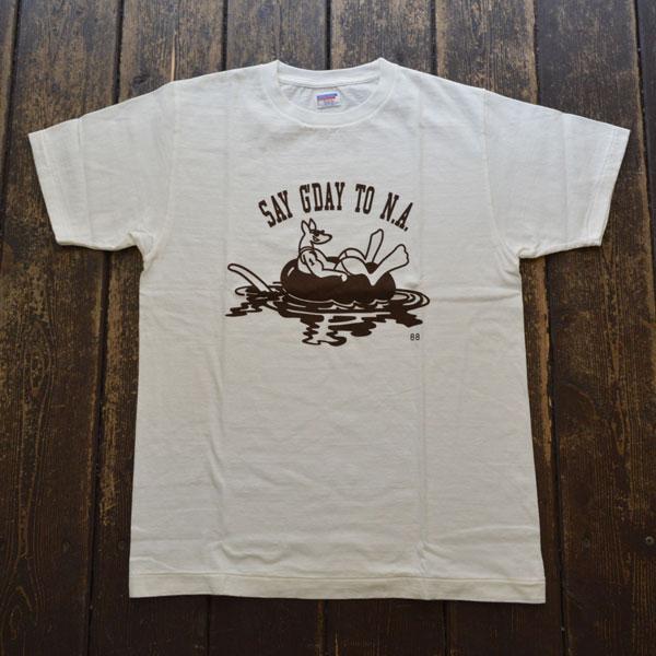 ダブルワークス DUBBLE WORKS ラフィ天竺 プリントTシャツ PRINT T-SHIRT SAY G' DAY 33005 WHITE