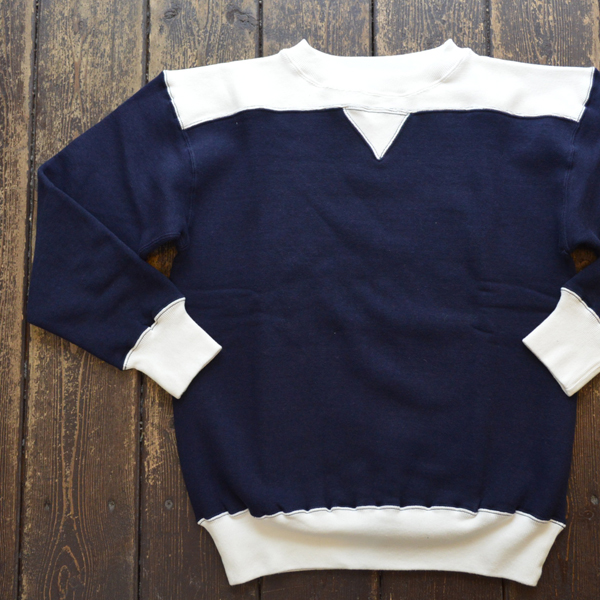 ダブルワークス DUBBLE WORKS 吊り編み 2TONE TSURIAMI SWEAT SHIRTS LOT.88005 NAVY/WHITE