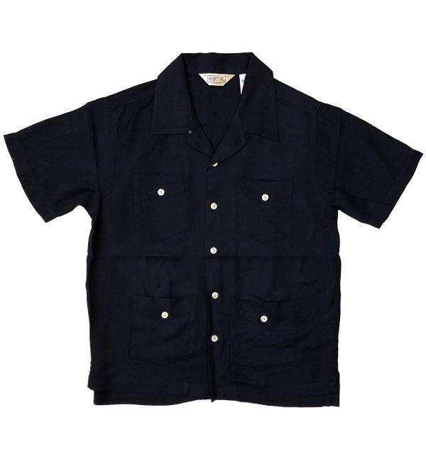 ファイブブラザー 【FIVE BROTHER】 オープンカラーキューバシャツ OPEN SHIRT SOLID NAVY
