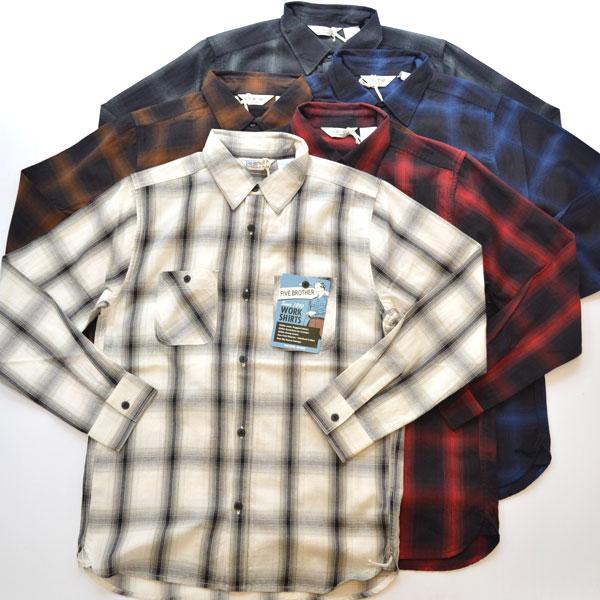 ファイブブラザー FIVE BROTHER レギュラーカラー ライトフランネルシャツ LIGHT FLANNEL WORK SHIRT 151945