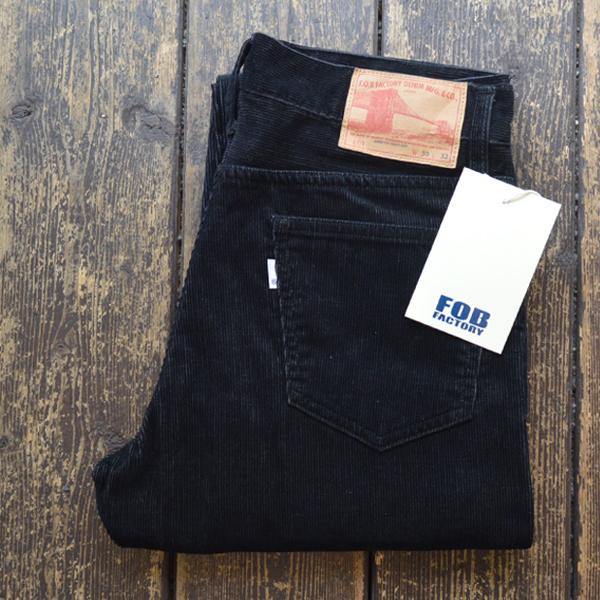 エフオービーファクトリー FOB FACTORY コーデュロイ5Pパンツ 14W T/C CORDUROY PANTS F1151 BLACK