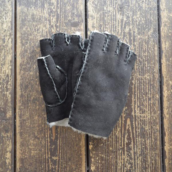 グレンクロフト GLENCROFT ムートングローブ フィンガーレス 指ぬき手袋 BLACK