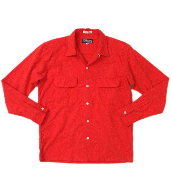 ハッピーキャンパー 【HAPPY CAMPER】 USA FABRIC OPEN NELLSHIRTS フランネルオープンシャツ RED