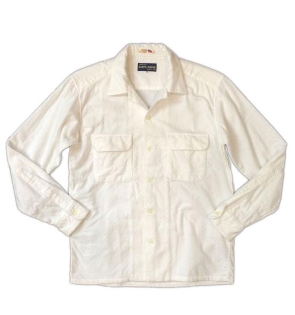 ハッピーキャンパー 【HAPPY CAMPER】 USA FABRIC OPEN NELLSHIRTS フランネルオープンシャツ WHITE