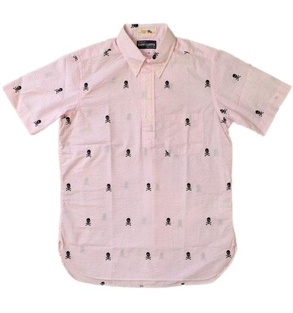 ハッピーキャンパー 【HAPPY CAMPER】 USAインポート生地 S/S ボタンダウンプルオーバーシアサッカーシャツ ドクロ
