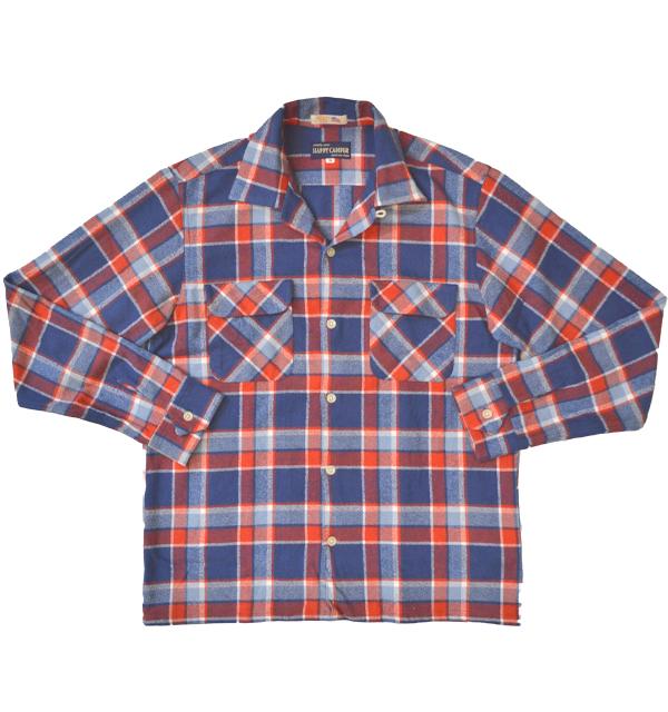 ハッピーキャンパー 【HAPPY CAMPER】 フランネルオープンシャツ FLANNEL OPENSHIRT NAVY/RED