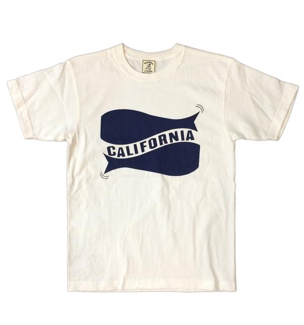 """ハッピーキャンパー 【HAPPY CAMPER】 6.2オンス 半袖プリントTシャツ """"CALIFORNIA"""" WHITE/NAVY"""