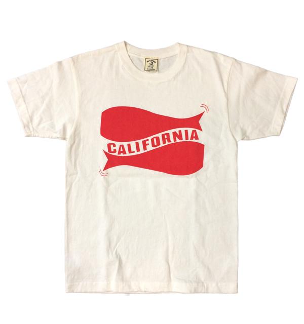 """ハッピーキャンパー 【HAPPY CAMPER】 6.2オンス 半袖プリントTシャツ """"CALIFORNIA"""" WHITE/RED"""