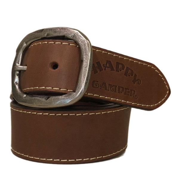 ハッピーキャンパー HAPPY CAMPER レザーバックルベルト Leather Belt BROWN