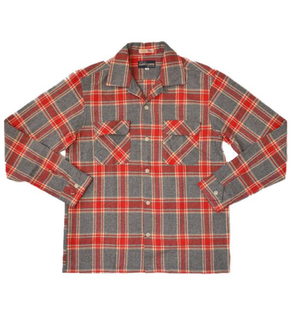 ハッピーキャンパー HAPPY CAMPER フランネルオープンチェックシャツ FLANNEL OPENSHIRT GRAY/RED