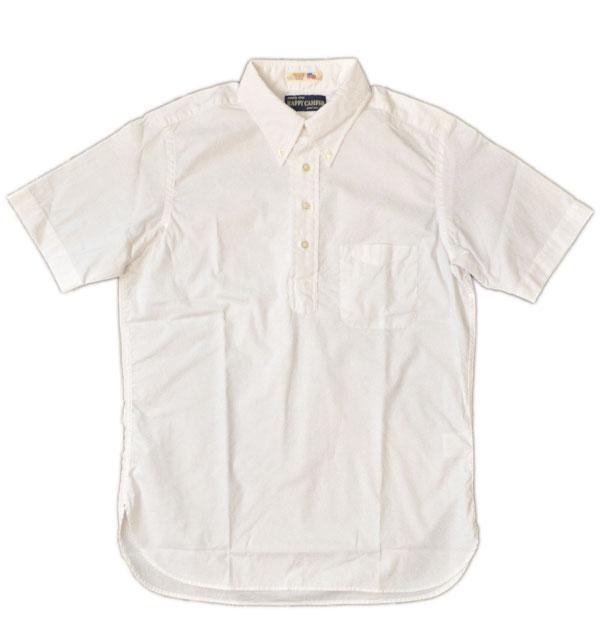 ハッピーキャンパー 【HAPPY CAMPER】 USAインポート生地 ボタンダウンプルオーバー半袖シャツ DOTS WHITE/WHITE