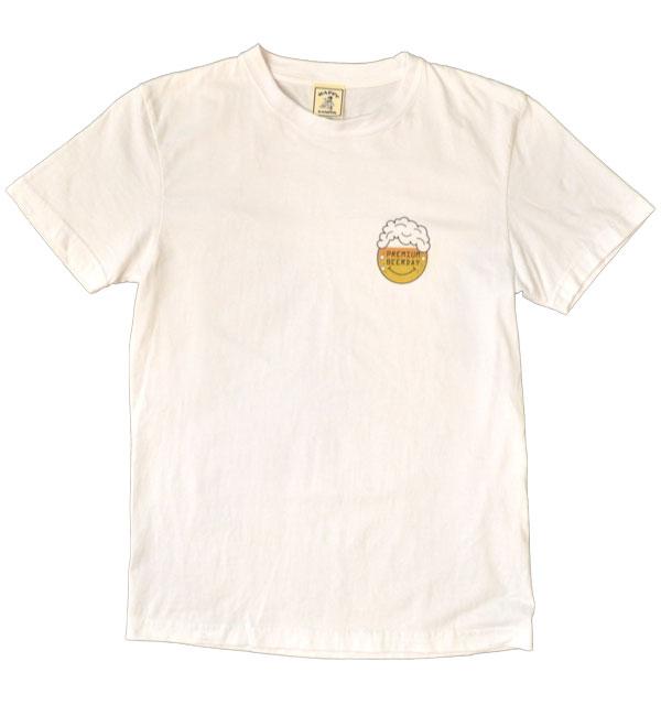 """ハッピーキャンパー 【HAPPY CAMPER】 6.2オンス 半袖プリントTシャツ """"PREMIUM BEERDAY"""" WHITE"""