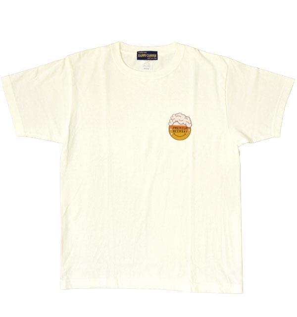 """再入荷! ハッピーキャンパー 【HAPPY CAMPER】 6.2オンス 半袖プリントTシャツ """"PREMIUM BEERDAY"""" WHITE"""