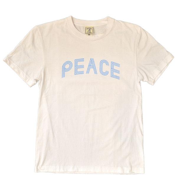 """ハッピーキャンパー HAPPY CAMPER 6.2オンス 半袖プリントTシャツ """"PEACE"""" WHITE"""
