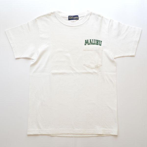 """ハッピーキャンパー HAPPY CAMPER 6.2オンス ポケットTシャツ """"MALIBU"""" WHITE"""