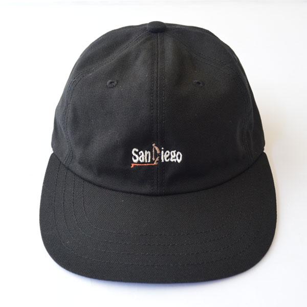 """ハッピーキャンパー HAPPY CAMPER コットンダック 6パネル 刺繍 キャップ DUCK 6PANEL EMB CAP """"SanDiego"""" BLACK"""