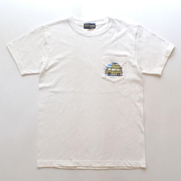 """ハッピーキャンパー HAPPY CAMPER 6.2オンス ポケットTシャツ """"VAN"""" WHITE"""