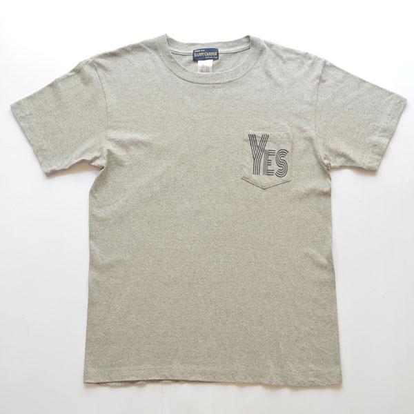 """ハッピーキャンパー HAPPY CAMPER 6.2オンス ポケットTシャツ """"YES"""" GRAY"""