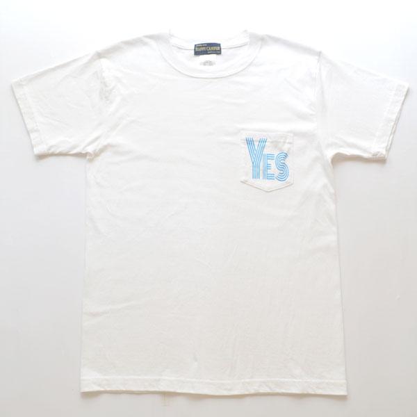 """ハッピーキャンパー HAPPY CAMPER 6.2オンス ポケットTシャツ """"YES"""" WHITE"""