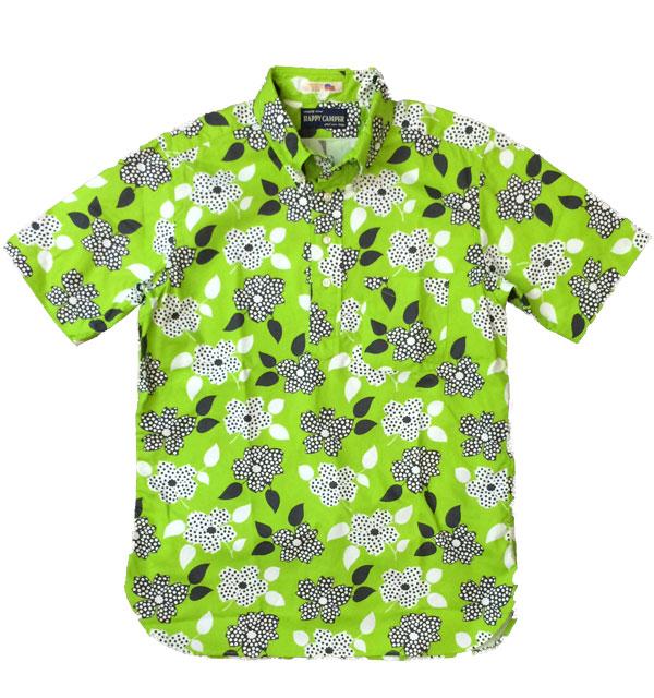 ハッピーキャンパー 【HAPPY CAMPER】 USAインポート生地 S/S ボタンダウンプルオーバーシャツ 花柄 GREEN