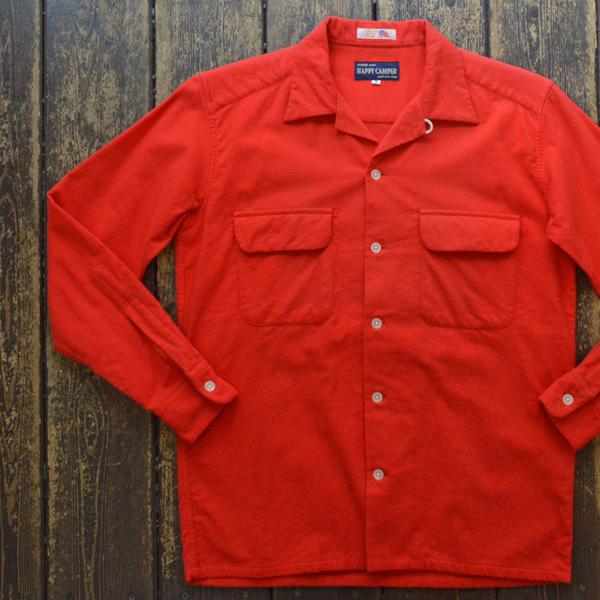 ハッピーキャンパー HAPPY CAMPER USA FABRIC OPEN NELLSHIRTS フランネルオープンシャツ RED