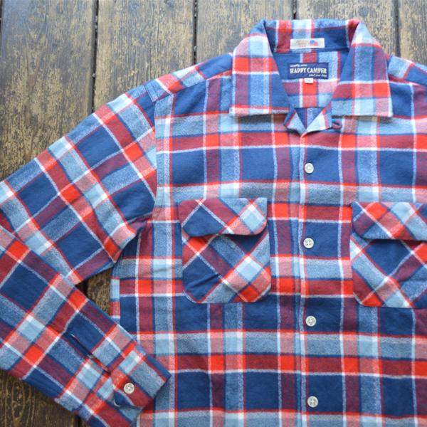 ハッピーキャンパー HAPPY CAMPER フランネルオープンチェックシャツ FLANNEL OPENSHIRT RED/BLUE AMERICANA