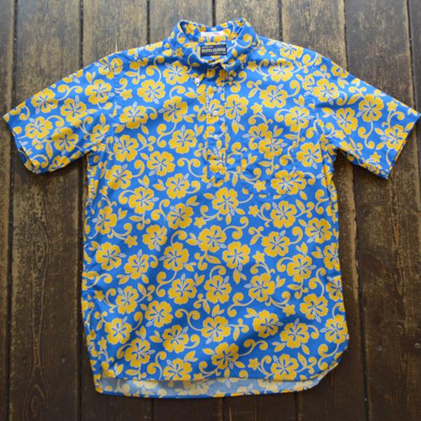 ハッピーキャンパー HAPPY CAMPER ハイビスカス ボタンダウン プルオーバーシャツ ALOHA BLUE/YELLOW